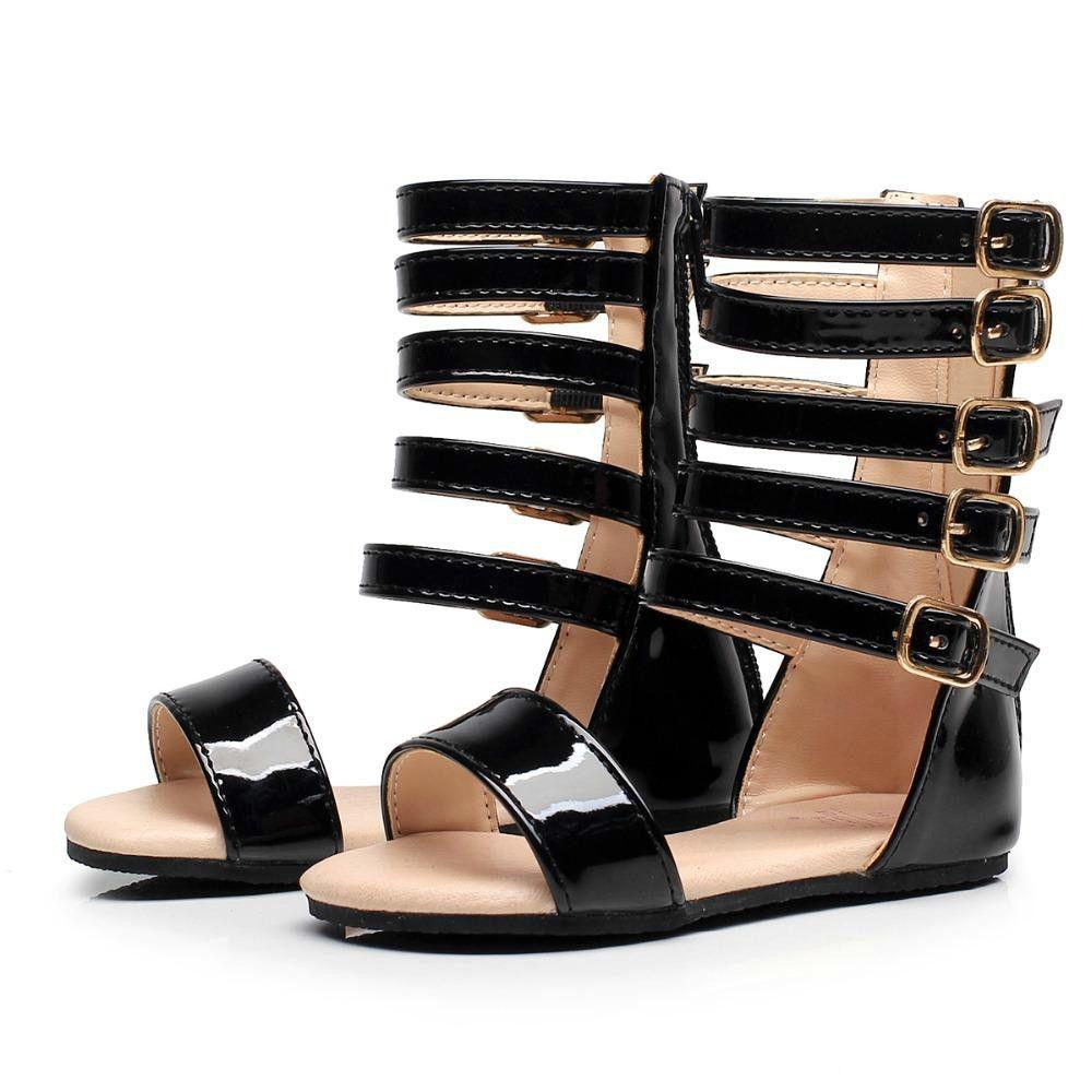 1722c01b3348 On Sale Summer Baby Girls Gladiator Shoes Roman Children Shoe Kids Leather  High Heels Open Toe Little Girl Fashion Sandals Shoes Online For Girls Kids  Shoe ...