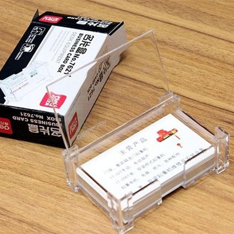 Clear Acrylic Business Card Holder Case Office Desk Storage Box Flip ...
