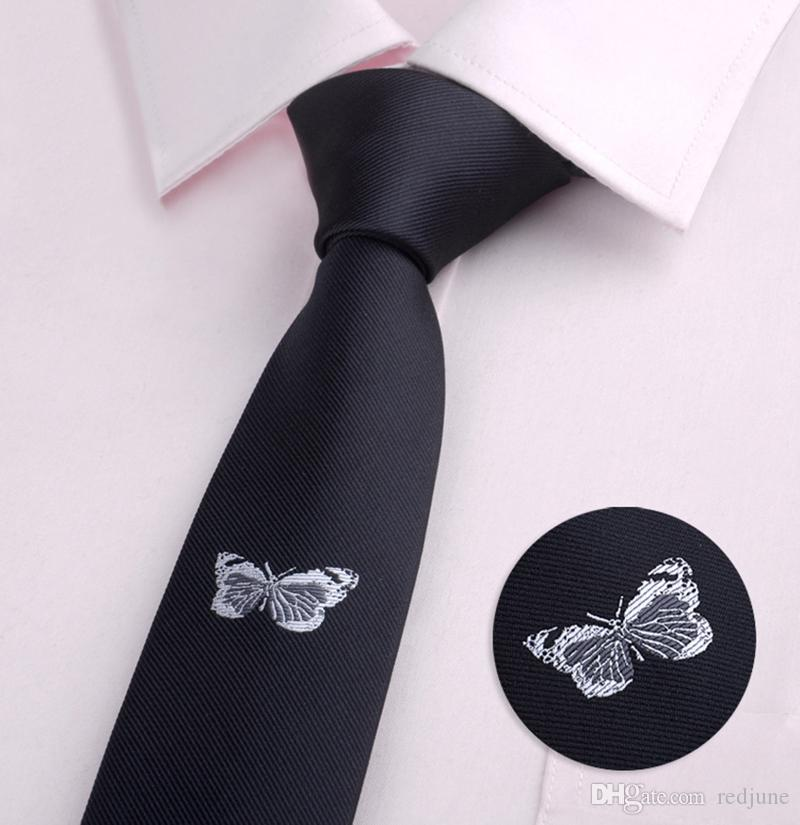 Fashion mens classical cartoon animal Bee butterfly Beard Broom skinny polyester neck ties Embroidery black casual Tie