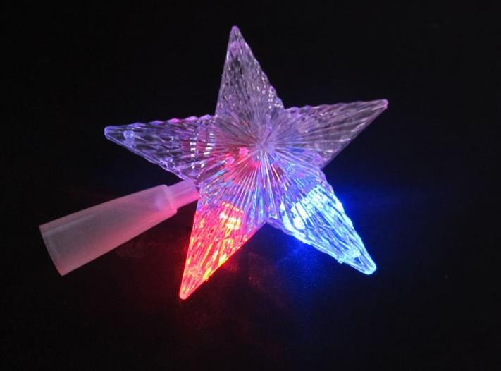 Pentagram Star Led Xmas Tree Topper Fairy Light Multi Color Flash Button Battery Powered Christmas Tree Decorations Presents