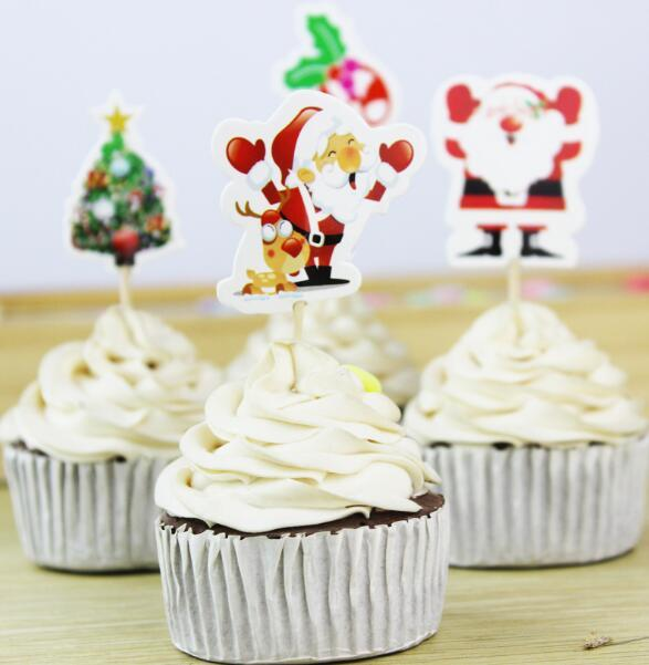 Christmas Cupcake Topper Paper Santa Claus Xmas Tree Cake Topper Christmas Festival Home Decoration Party Supplies