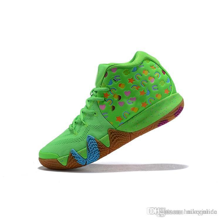 4d5fd2b0e76 2019 Cheap New 2018 Mens Kyrie Basketball Shoes Lucky Charms Green Red Black  Mamba Mentality Kobe Irving 4 IV Sneakers Trainers With Box For Sale From  ...