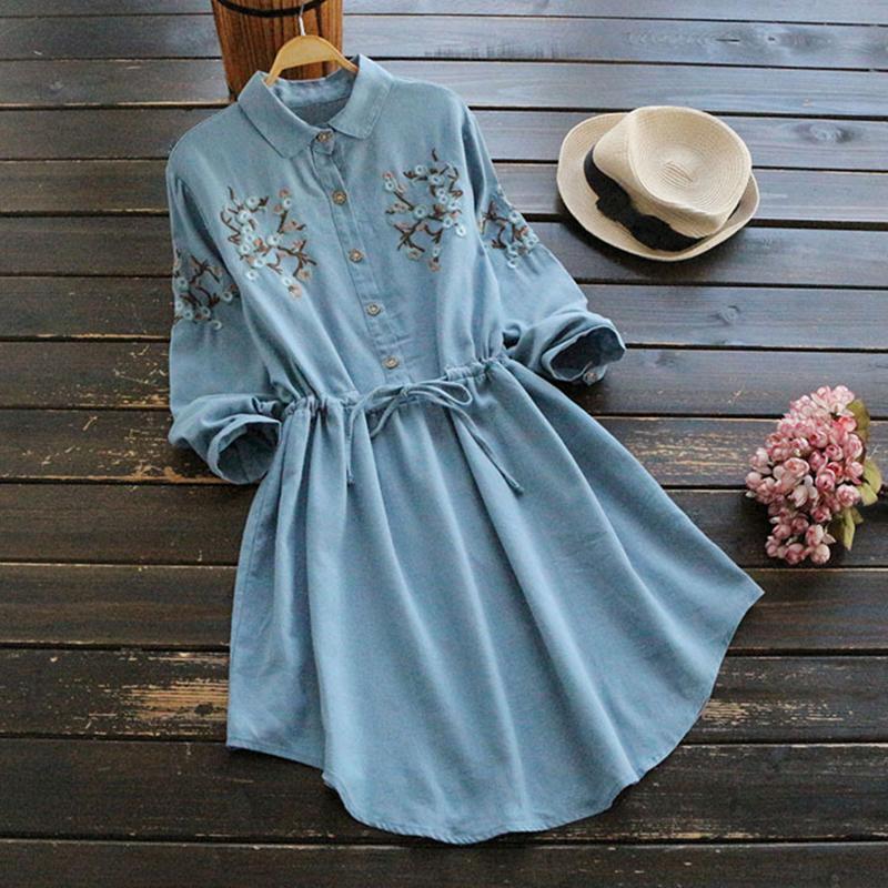 1608900fae 2019 Spring Summer Long Sleeve Cotton Linen Dress Women Embroidery Vintage  Casual Knee Length Dresses Robe Femme Vestidos Verano 2018 From Burtom
