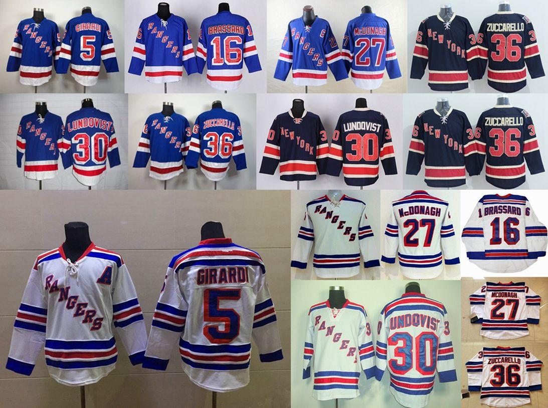 5495f097ec9 New York Rangers Jerseys 5 Dan Girardi 16 Derick Brassard 30 Henrik  Lundqvist 36 Mats Zuccarello White Blue Ice Hockey Jerseys New York Rangers  Stars Dan ...