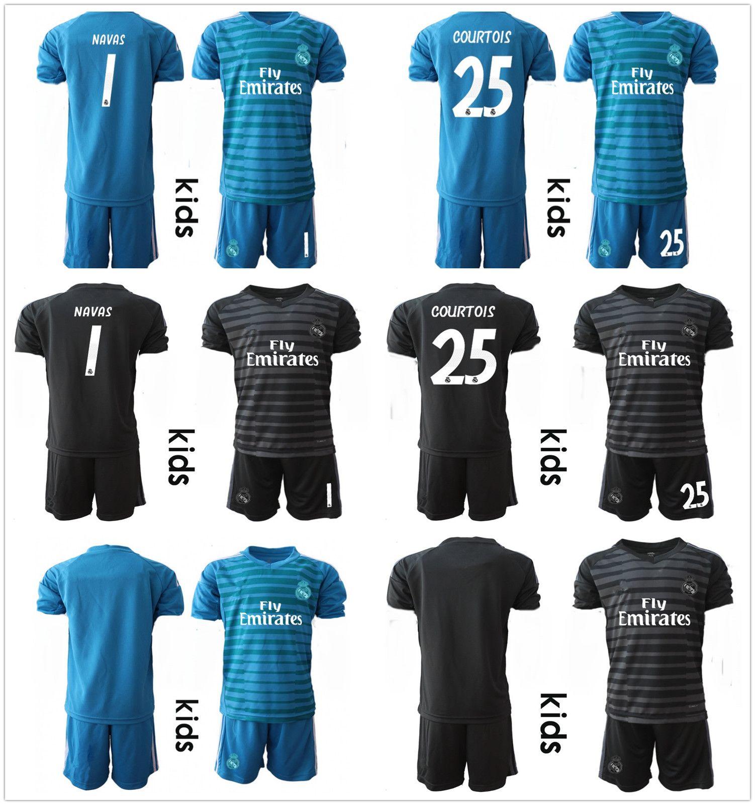 dac6a03b5 purchase 2018 2018 2019 kid youth short real madrid soccer set goalkeeper  kit blue black keylor