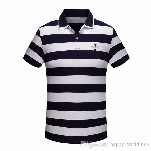 High New Novelty 2018 Men Embroidered Bees Stripes Fashion Polo ... 557279c772c1