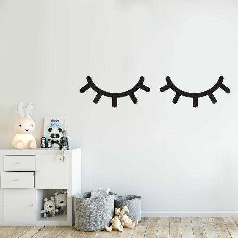 cute beautiful eyes eyelashes vinyl wall sticker for home decor