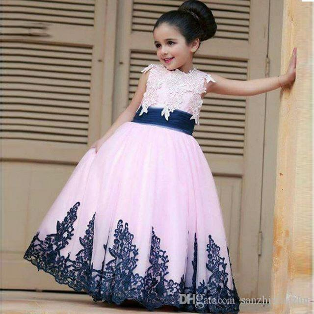 001e1f1411ae8 Bright Yellow Flower Girl Dresses 2018 Cute Ball Gown Lace Applique Girls  Pageant Dresses Elegant Party Dresses For Weddings Toddlers Dresses Wedding  Dress ...