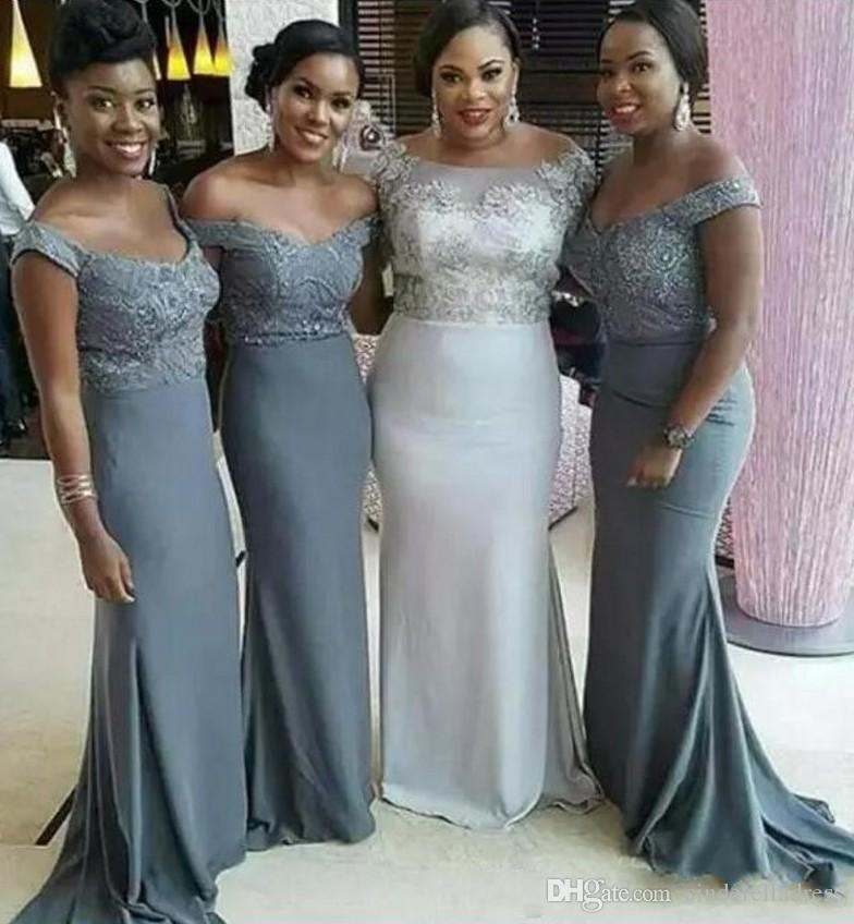 23b233ee5f07 Cheap Off The Shoulder Grey Bridesmaid Dresses 2019 Plus Size African Sexy  Maid Of Honor Gowns Formal Wedding Guest Dress Short Sleeves Long Purple ...