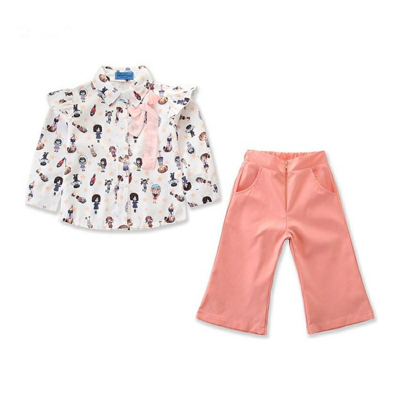 e4710cebe7c4eb Baby Girls Clothes Trousers Children Fashion Tops + Wide Leg Pants ...