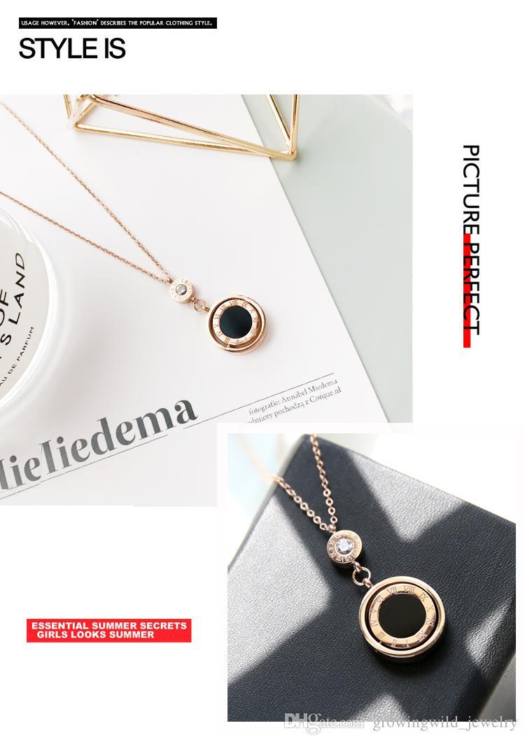 Europe and America fashion titanium steel Rome tide black and white disc pendant pendant titanium steel rose gold lock necklace lady's faded