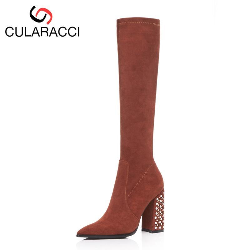 san francisco 71fea e10fc CULARACCI 4 Farben Größe 33-43 Frauen Winter Schuhe Kurze Stiefel Winter  Warme Schuhe Damen Perlen Starke Ferse Mode Schuhe