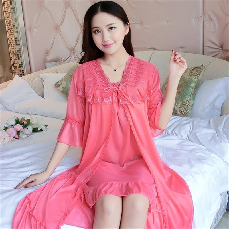b49001d2d55 2019 Ladies Nightdress New Summer Thin Ice Silk Two Piece Home Service Sexy  Strap Mini Dress Short Sleeved Robe Sets Female Nightgown From Tutucloth
