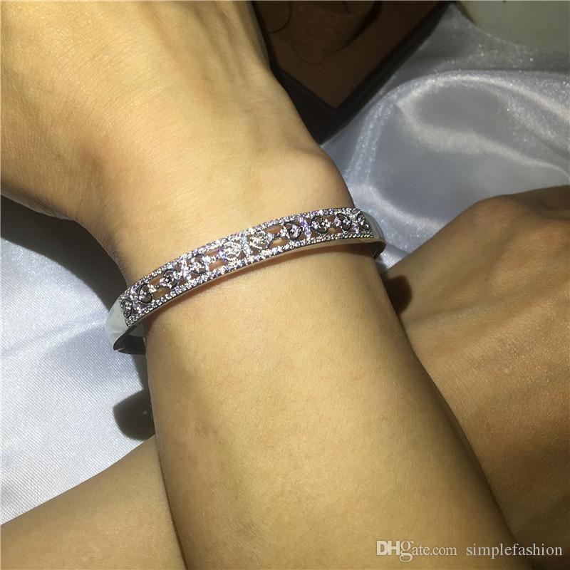 Vecalon coeur à coeur 5 a zircon cubique bracelet de fiançailles or blanc bracelet manchette rempli femmes accessoires de mariage bijoux