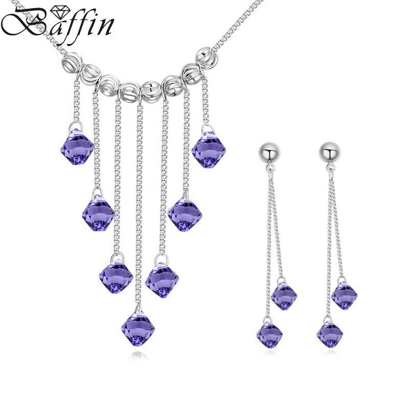 BAFFIN Wedding Jewelry Sets 100% Original Crystals From SWAROVSKI Tassel Pendant Maxi Necklaces Earrings For Women Fashion Joyas