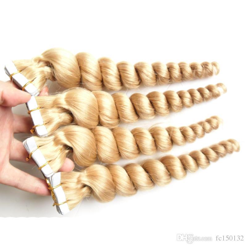613 Cinta brasileña brasileña de pelo suelto de 12-26 pulgadas Cinta de cabello remy Extensiones 80g 200g Cinta humana de seda india de color rubio Rubio