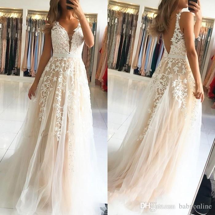 1395e46e4cf Simple Designed Fairy Ivory Champagne Tulle Prom Dresses A Line V Neck  Appliqued Long Bridesmaids Evening Gowns Plus Size With Sash Cheap Long Prom  Dresses ...