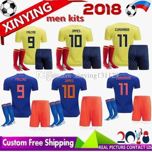 643ff85be ... get free shipping men kits 2018 world cup colombia soccer jerseys 18 19  falcao home away