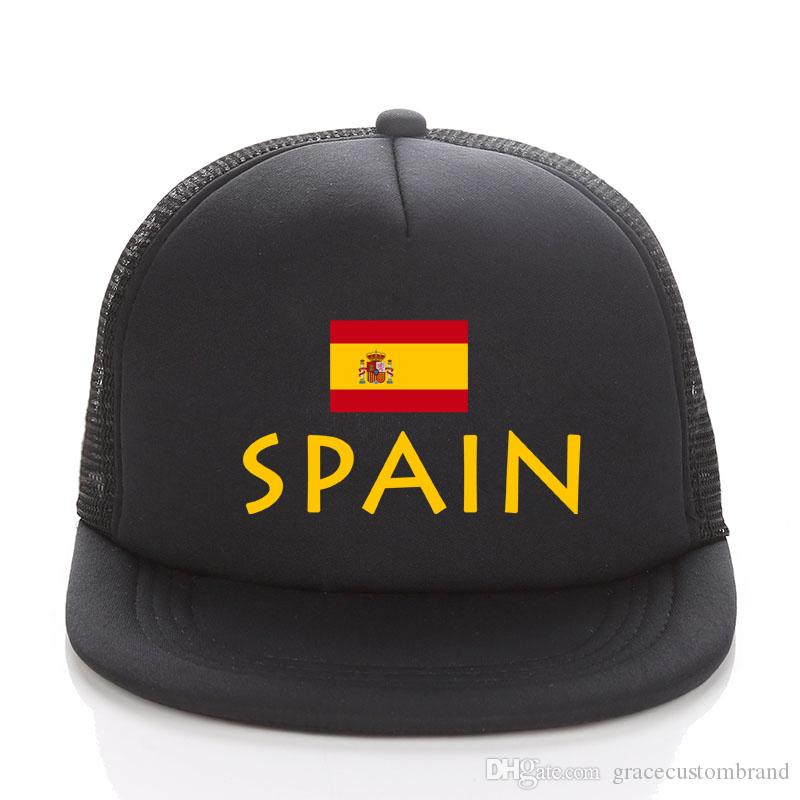 60b3e47ac Russia 2018 World Cup Baseball Cap GOLD SPAIN Football Mesh Trucker Hats  Summer Kids Men SPAIN Flag Sun Hat Adult Snapbacks Basecaps Hats For Sale  From ...