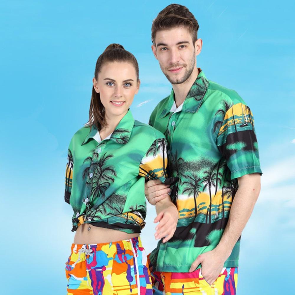 a9c404fe3fcda Acheter Couple Bord De Mer Chemises Arbre De Noix De Coco Imprimé Style  Hawaïen Hommes Femmes Beach Shirts Été Amoureux De Vacances Vert Bleu  Chemise 2018 ...