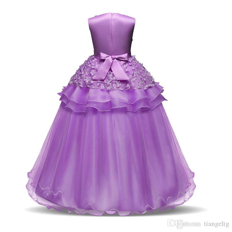 New Girls Princess Dress Longuette Big Bow Applique Girls Ball Gown Lace Bubble Skirt Sleeveless Performance Dress 5-16T