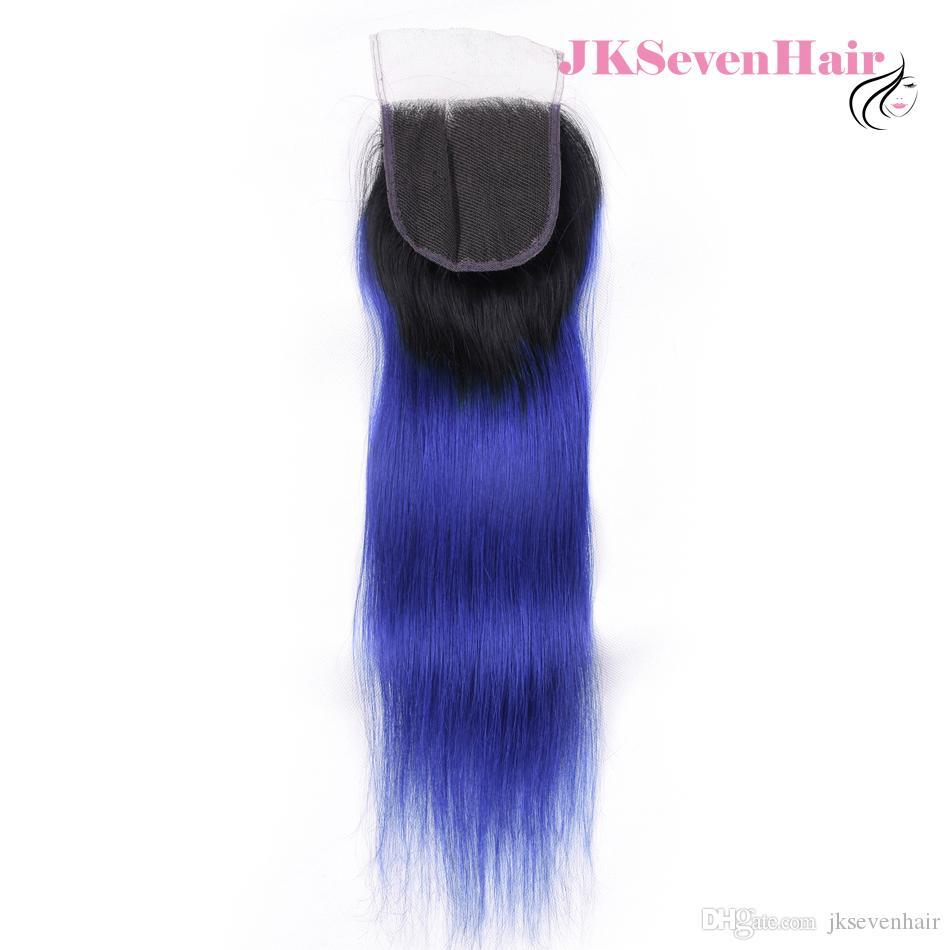 1b الأزرق مستقيم البرازيلي العذراء الإنسان الشعر 4 حزم مع إغلاق الدانتيل أومبير اثنين من لهجة اللون الأزرق الهندي بيرو الماليزية ريمي الشعر اللحمات