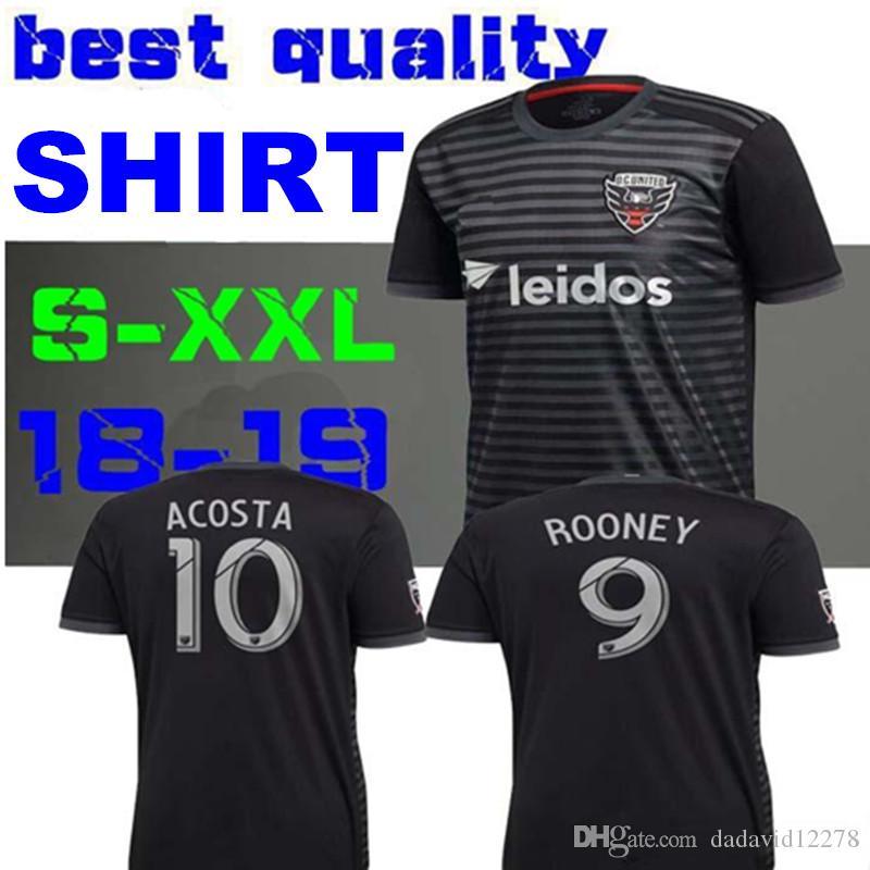 Compre Versão Para Fã 18 19 DC United Camisa De Futebol 2018 2019 MLS Home  Preto   9 ROONEY Camisas ACOSTA HARKES ARRIOLA STIEBER Camisas De Futebol  De ... a79a6d6d578a6