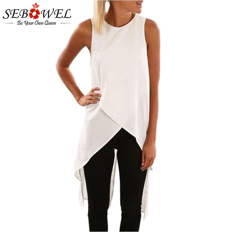 cc8f0d9951c357 2019 Sebowel 2018 Womens Tops And Blouses Summer Casual Blouse Top White  Sleeveless Wrap Style Tunic Long Tank Black Blouses Women From  Finebeautyone