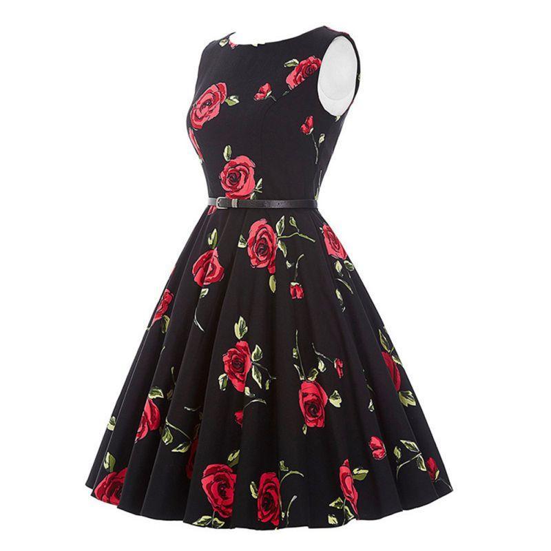 2185ade3ec29e4 Großhandel Sommer Ärmelloses Kleid Vintage Rockabilly Gürtel Kleid Retro  Große Schaukel Floral Rose Formale Audrey Hepburn Frauen Vestidos Von  Jiuwocute, ...