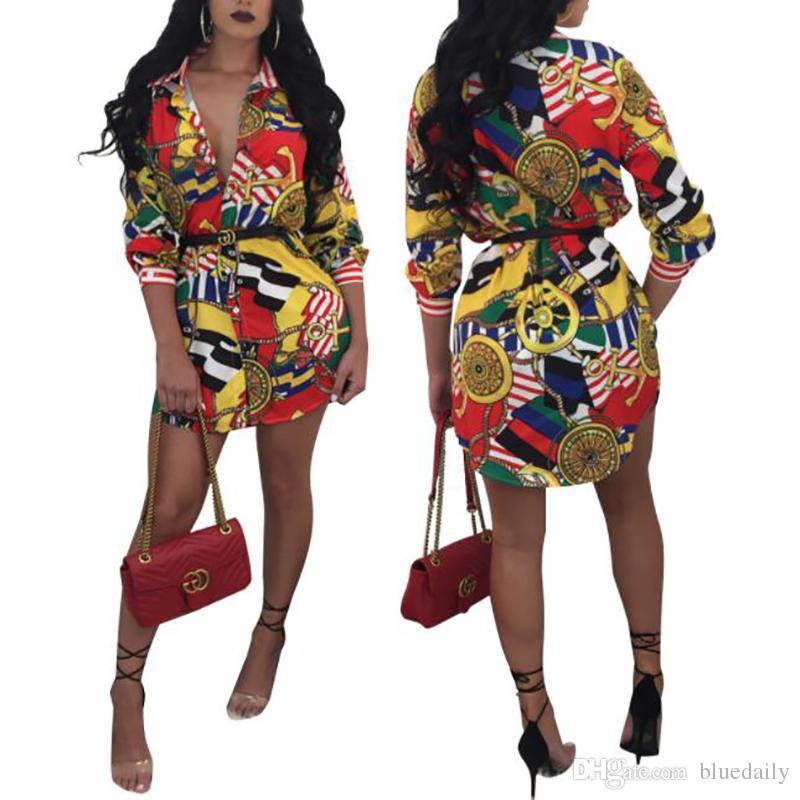 Gros nouvelle chemise imprimée manches longues Vintage Sexy Bandage Bodycon Dress Femmes Dames Casual Mini Robes