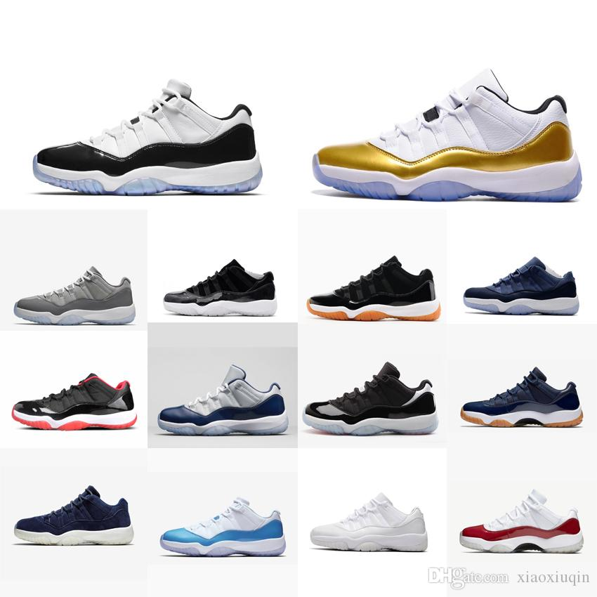 fc106aaa20cb34 2019 Retro Mens 11s Low Basketball Shoes For Sale High Quality J11 Closing  Ceremony Metallic Gold Barons Concords Jumpman 11 XI Sneakers With Box From  ...