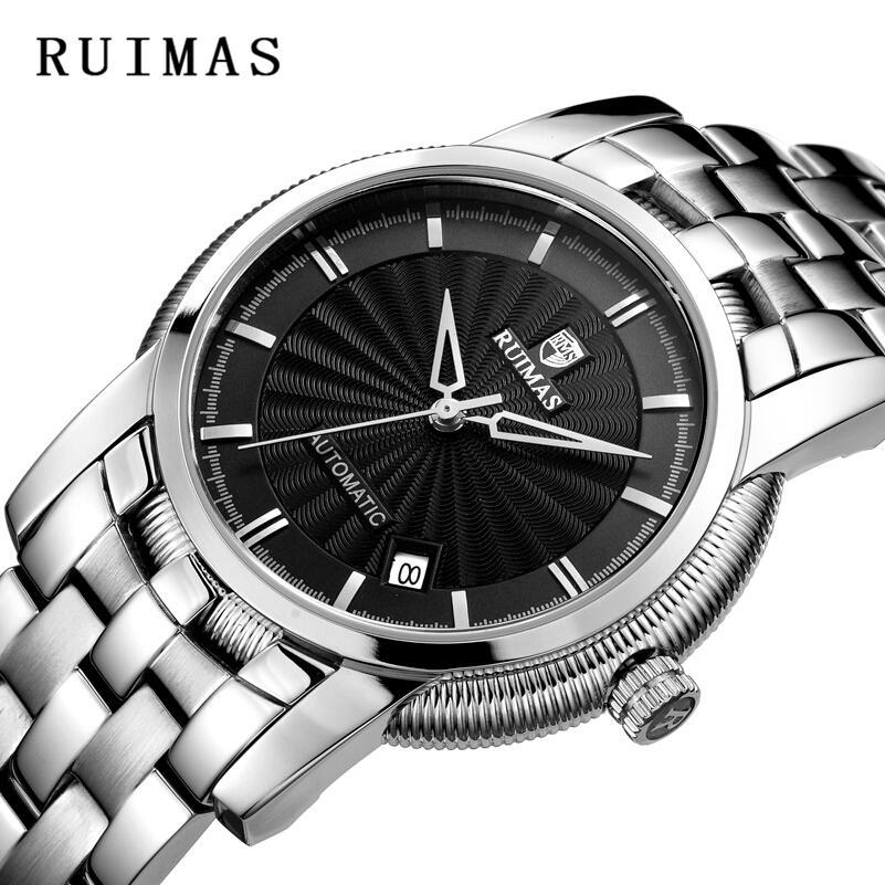 aee062d61a9 Compre Relógio Automático RUIMAS Luxo Cavalheiro Top Marca Homens De  Negócios Safira Relógio Mecânico De Aço Inoxidável Erkek Kol Saati May0501  De Chuancai