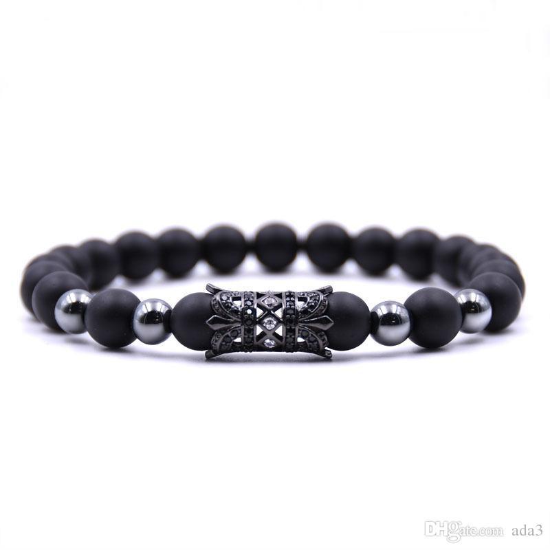 Trendy Fleur Conception Bouddha Strand Bracelets Noir Naturel Pierre Charme Perles Bracelet Pour Hommes Femmes Bijoux Pulsera