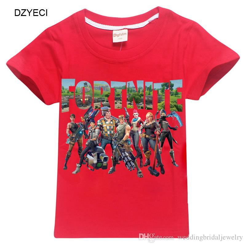 Summer Kid Fortnite T-shirt Clothes Fashion Tee For Kid Short Sleeve Print Cartoon Tank Children Cotton T Shirt Clothes 6-14 Year