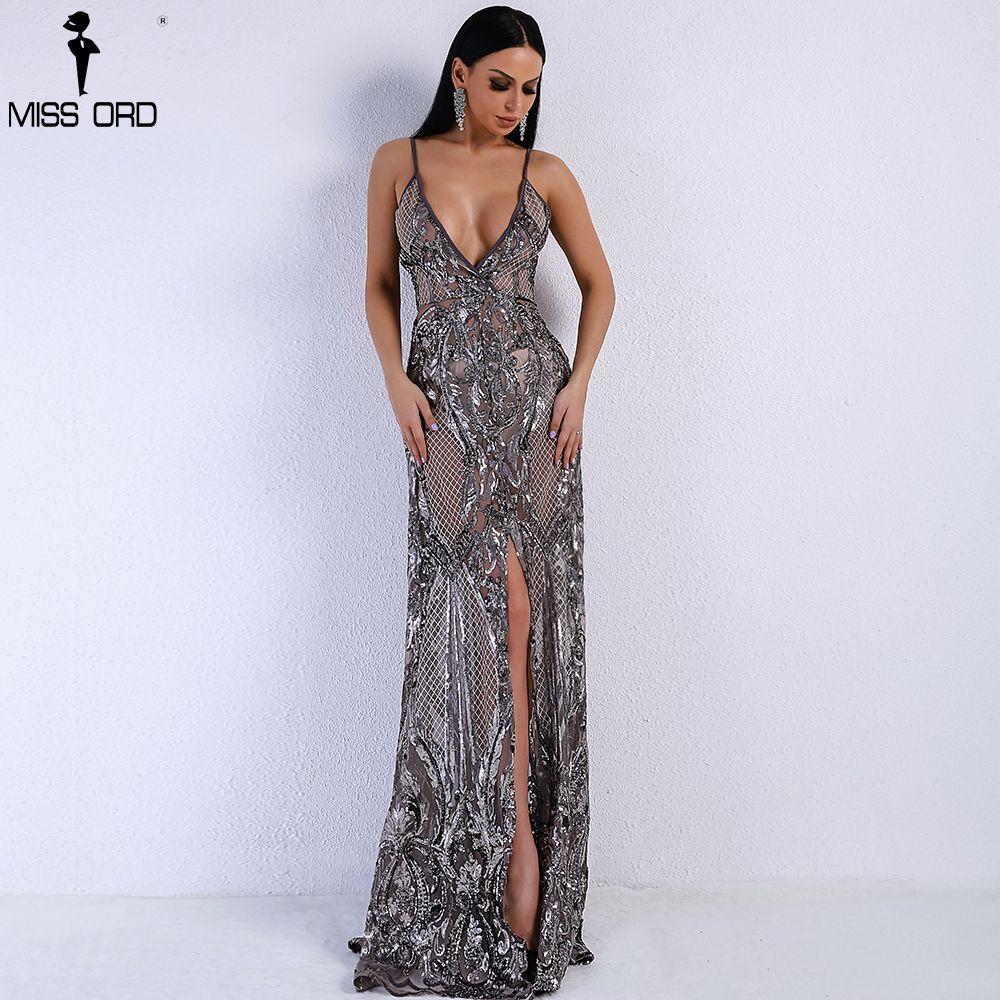 1130275e20e6f Compre Missord 2018 Summer Sexy Con Cuello En V Off Hombro Medio Split  Vestido De Mujer Lentejuelas See Through Maxi Vestido De Fiesta FT5139 5  Y1891108 A ...