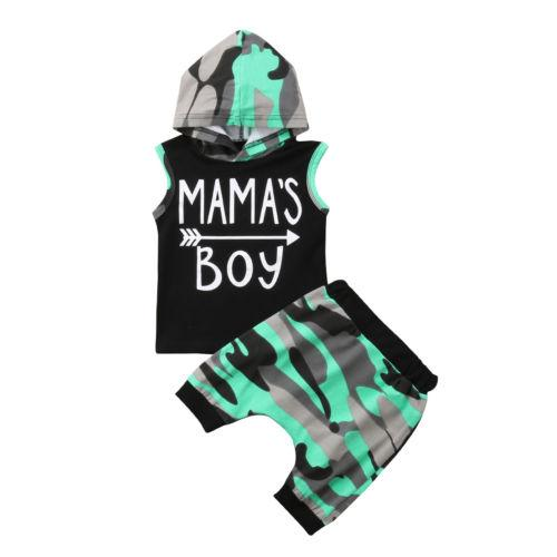 9dd144753c3e Summer Toddle Baby Boys Camouflage Hoodie Tops Sleeveless T-shirt ...
