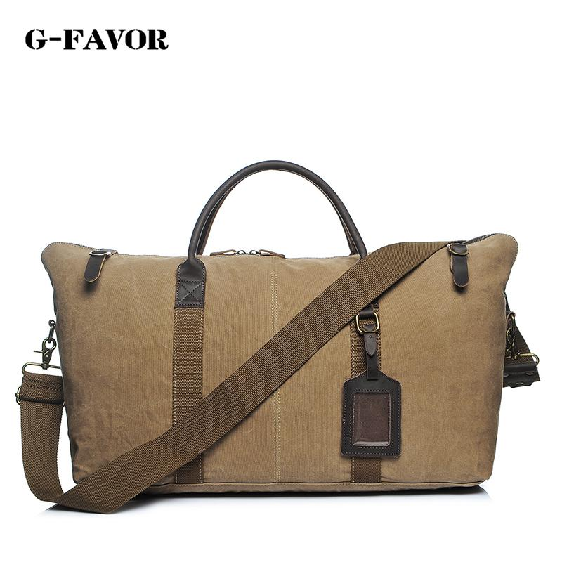 G-FAVOR New Casual Canvas Leather Men Travel Bags Weekend Carry on ... 733cfaf3ed