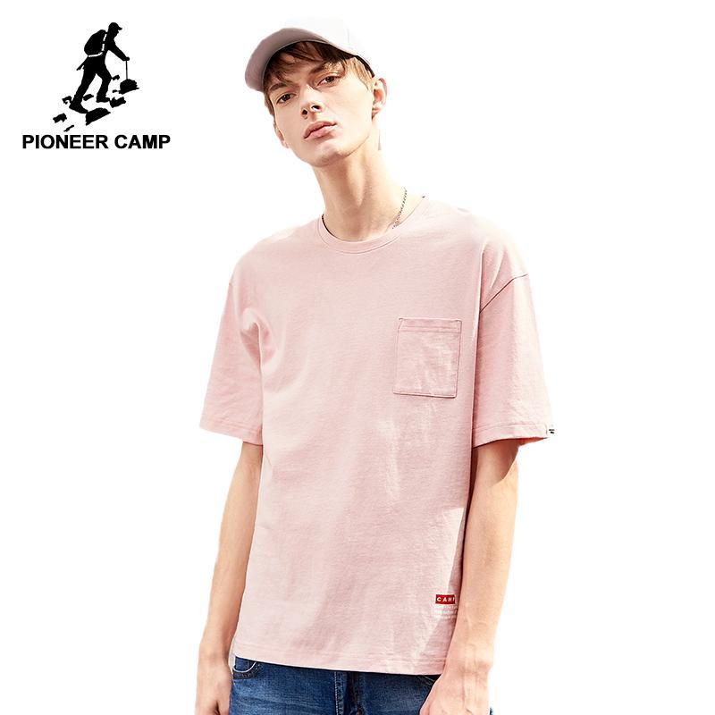 Hombres Calidad Superior De Sentimiento Camiseta Masculina Sensación 100Algodón Casual Marca Camp Ropa 20187 Summer Pioneer Rosa WxerdBCoQ