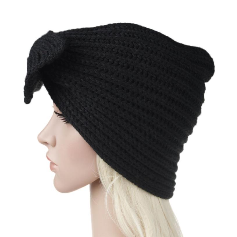 1a56acd21f9 2018 Women Bowknot Knitting Cashmere Keep Warm Winter Hat Acrylic Fibres  High Quality Fashionable And Warm Hat For A Girl Or A Boy From Mangosteeng