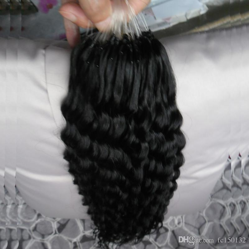 Paket başına Derin Kıvırcık 100 Gram Mikro Boncuk Bağlantı İnsan Saç Uzantıları 1 g / strand Mikro Döngü Yüzük Saç Uzantıları Remy Saç Uzatma Set