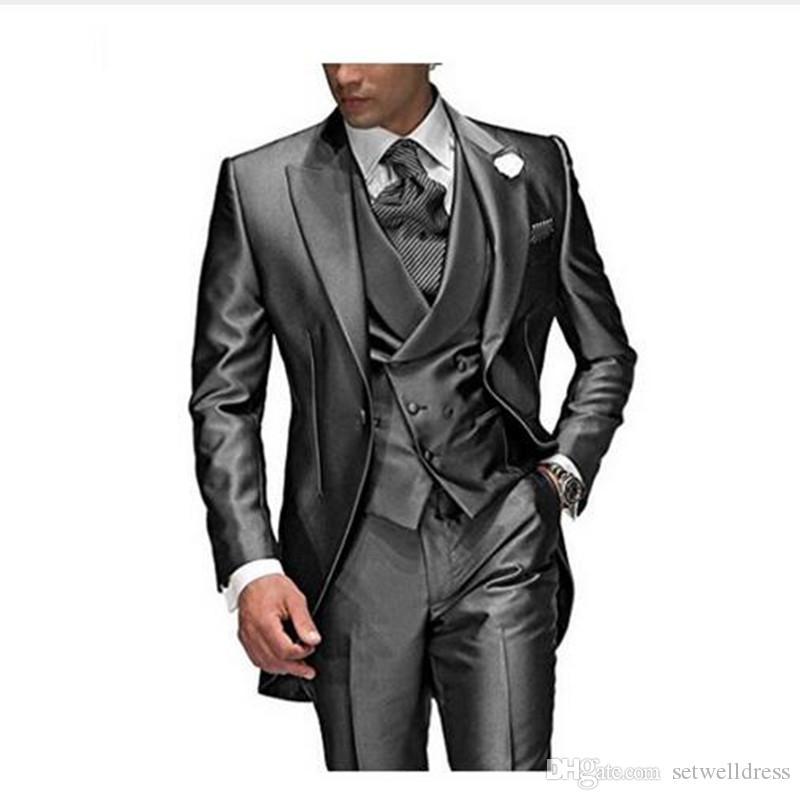 الفحم رمادي بدلة رجالية لحضور حفل زفاف ذروته طية صدر السترة 3 قطع العريس البدلات الرسمية بدلة الزفاف للرجال العرف سترة + سروال + سترة