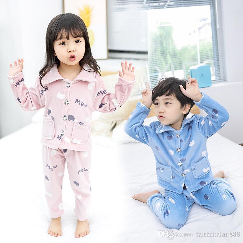 cee2e14f2c Autumn Winter Coral Fleece Children Pajamas Sets Sleepwear Warm Boy Girl  Nightwear Cartoon Long Sleeve Tops Pants Kids Clothing Sets Kid Pajama  Cheap Kids ...
