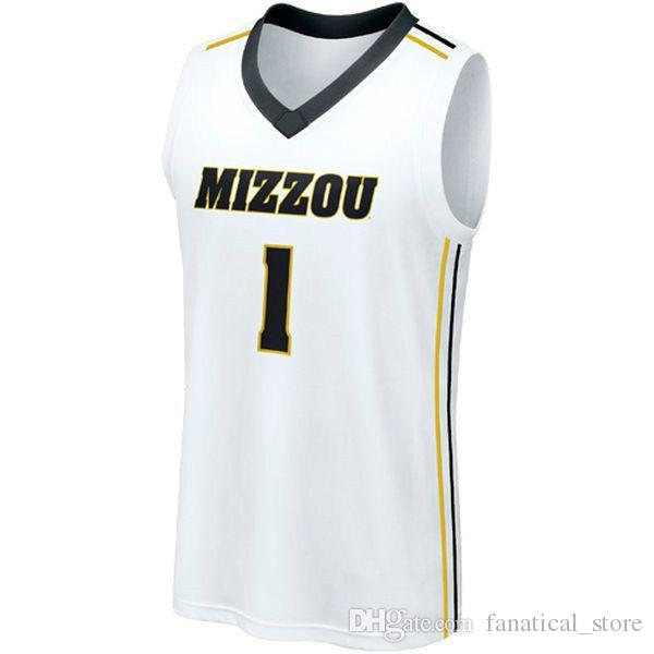 pretty nice ef949 3f081 NO.1 Missouri Tigers Men College Basketball Jersey Embroidery Athletic  Outdoor Apparel Mens Yellow White Sport Jerseys Size S-5XL