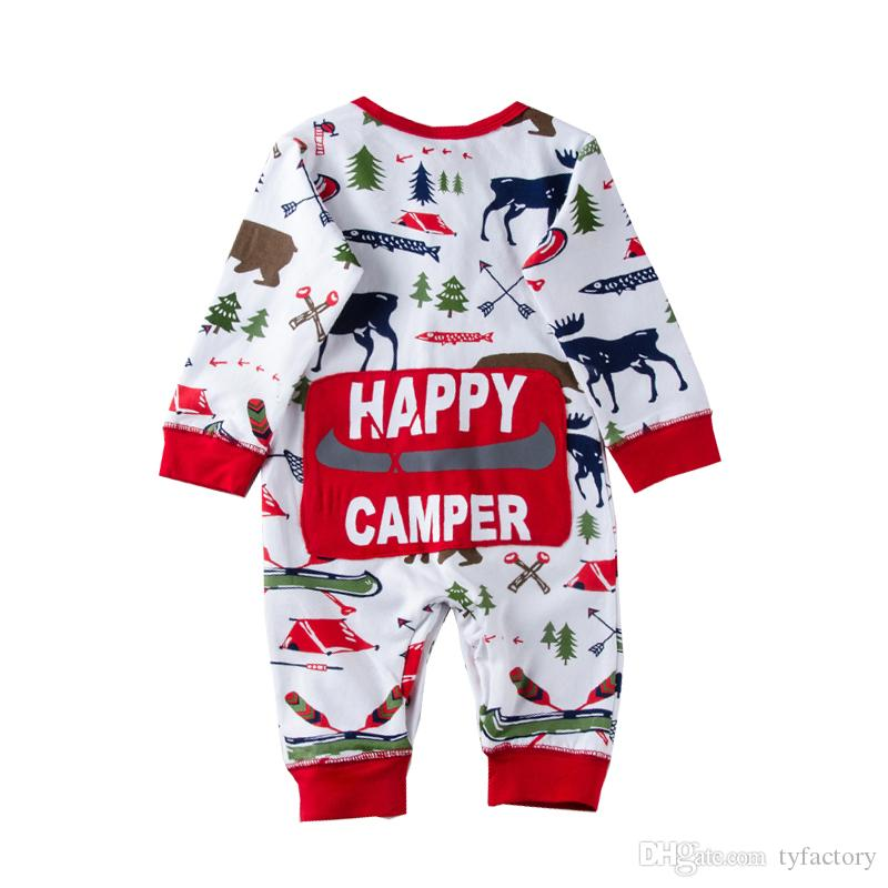 525cfc481ce5 2018 Christmas Baby Girl Boy Pajamas Outfit Newborn Kids Bodysuit Striped  Romper Bear Reindeer Winter Wholesale Xmas Baby Clothes 0 18M Boys Pjs  Children S ...