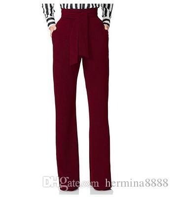 299c3bb5e9 Compre 2019 Mujeres De Moda Pantalones De Pierna Ancha Cintura Alta Corbata Cintura  Pantalones Palazzo OL Pantalones Largos Mujer BottomTrousers A  25.86 ...