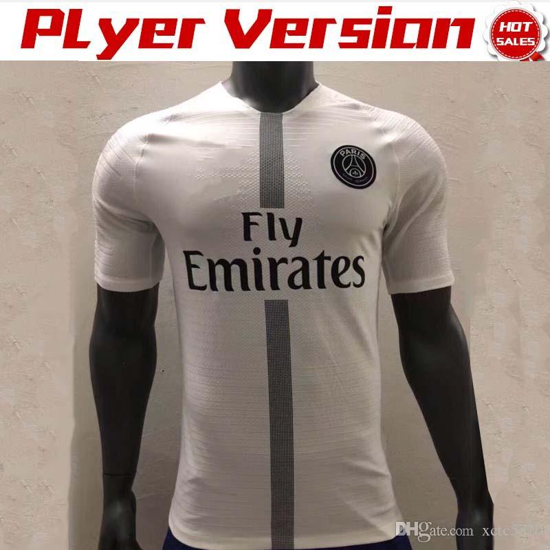 sale retailer 2546b b2fdd Player Version New Logo PSG Soccer Jerseys 18/19 Champions League PSG White  #10 NEYMAR JR #7 MBAPPE #9 CAVANI Football Shirts Sales