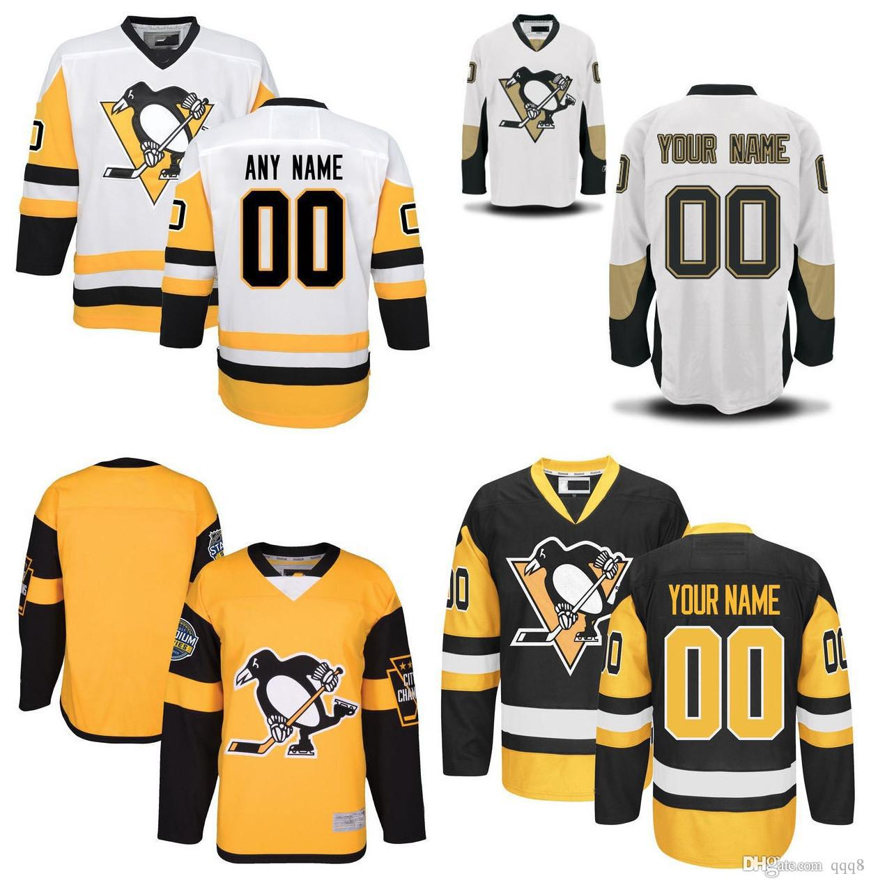 597d06fc8a4 2019 Customized Men Pittsburgh Penguins Jerseys Custom Stitched Any Name  Any Number Ice Hockey Jersey BlacK White Embroidery Logos Size 46 56 From  Qqq8, ...