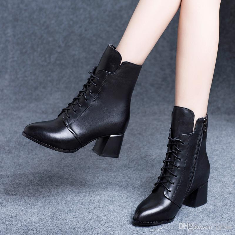 Women S Vintage Thin Heel Pointed Toe Ankle Boots Lady Lace Up Leather  Black Short Boots Cheap Shoes For Women Snowboard Boots From Yjliua 98a36620ff