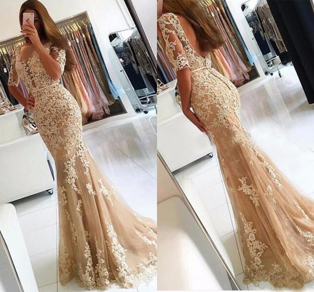 4802f1b2a036 2018 New Elegant Champagne Lace Tulle Mermaid Prom Dresses Half Sleeves Sexy  Backless Illusion Sheer Scoop Evening Dress Gown Scala Prom Dresses Short  Sexy ...
