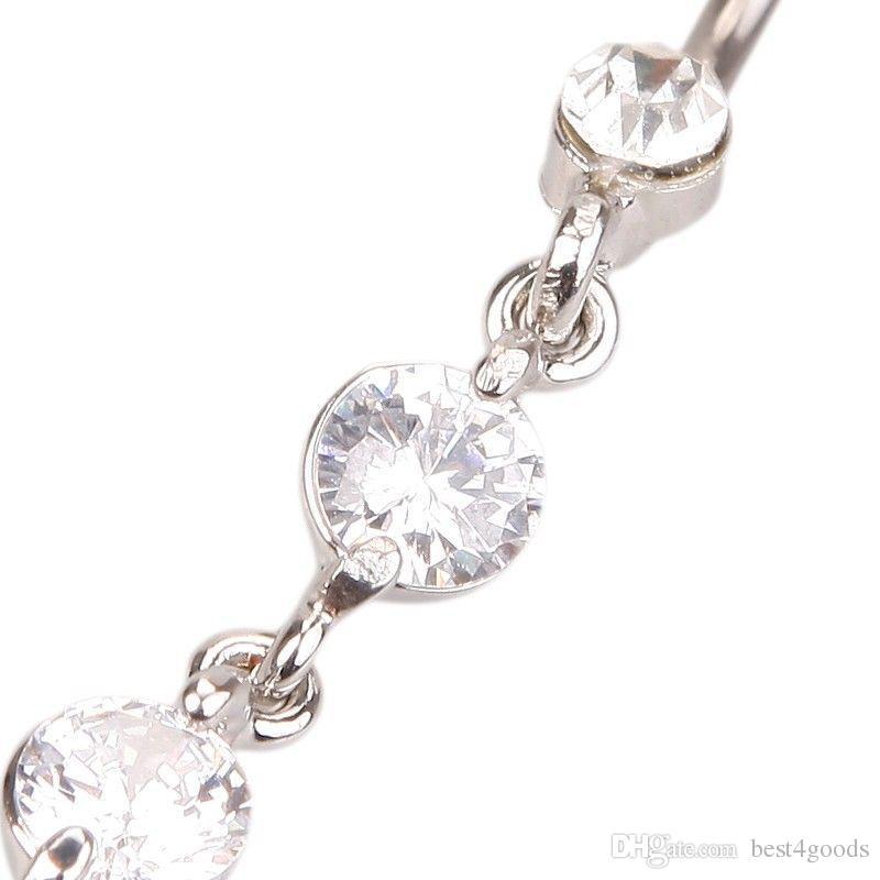 الفولاذ المقاوم للصدأ الزركون طويل استرخى جولة حجر الراين السرة حزام البطن زر مجوهرات بار خواتم الحديد ثقب عكسي